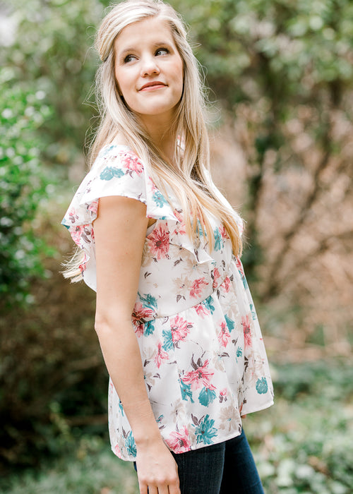 floral watercolor top - epiphany boutiques