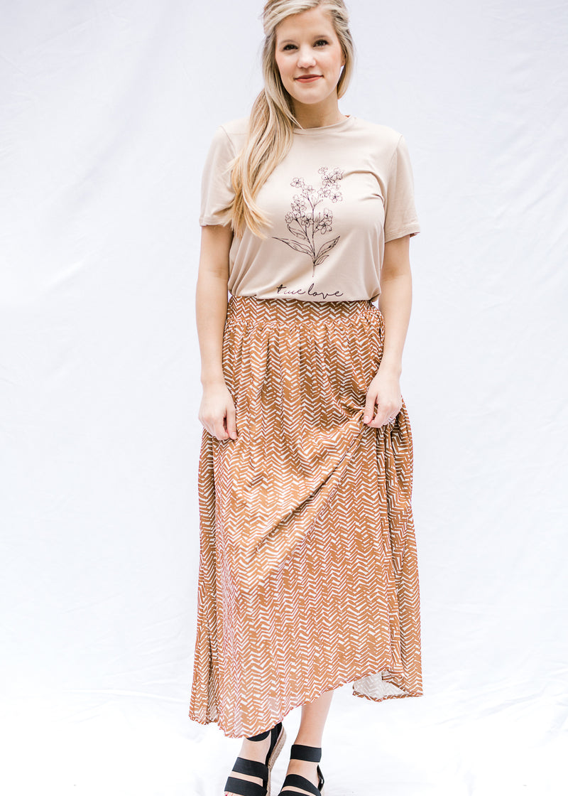 midi skirt brown and cream - epiphany boutiques