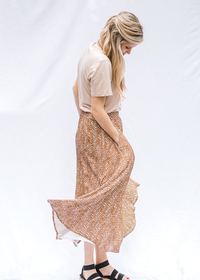 midi skirt brown and white -epiphany boutiques