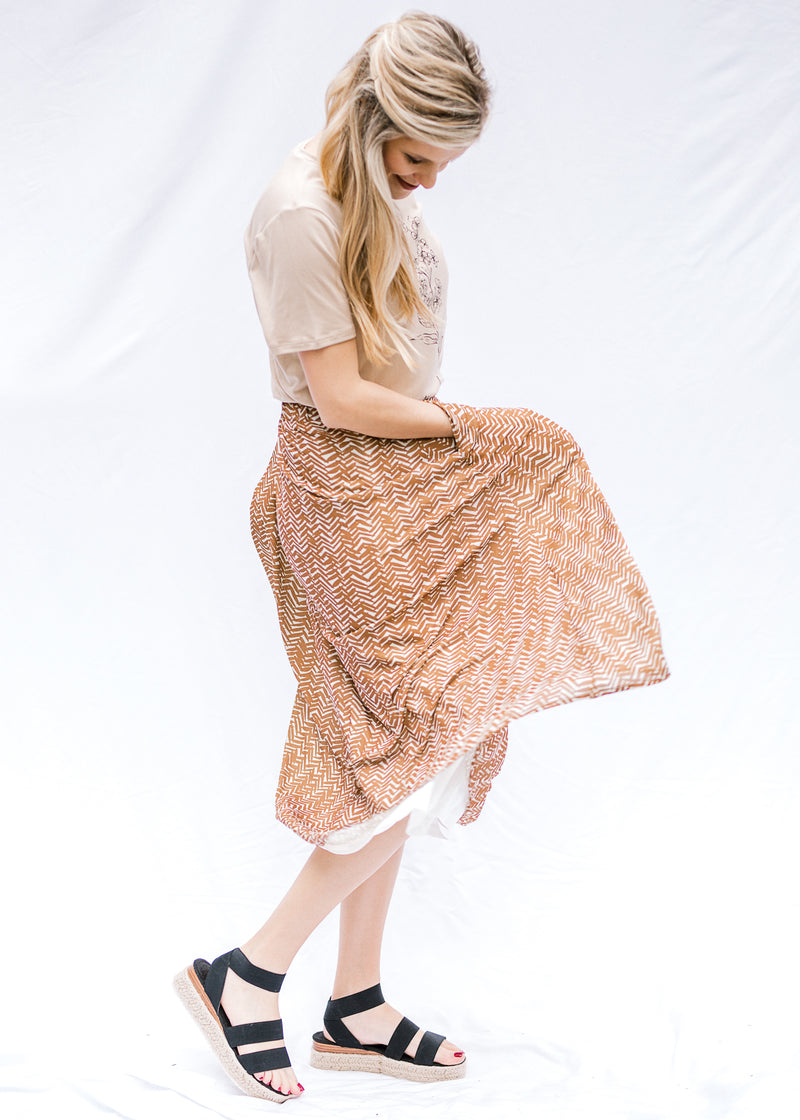 twirl midi skirt in brown - epiphany boutiques