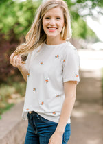 flower embroidered tee - epiphany boutiques
