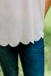 X White Scallop Sleeveless Top