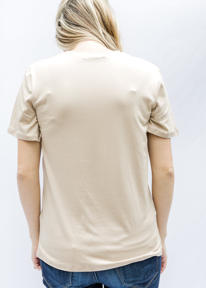 back of taupe graphic tee - epiphany boutiques