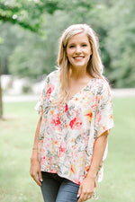 floral top with side tie - epiphany boutiques
