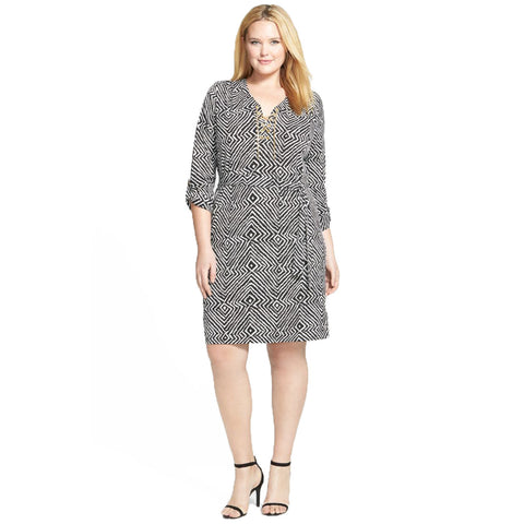 MICHAEL Michael Kors Chain Lace-up Roll Tab Plus Size Dress - Your Glam Style - 1