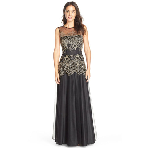 Tahari ASL Floral Embroidered Illusion Neckline Gown - Your Glam Style