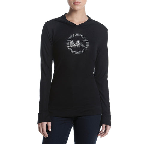 MICHAEL Michael Kors Waffle Knit Studded Logo Hooded Top