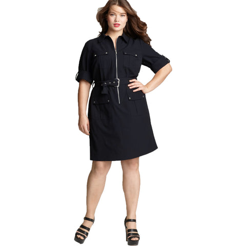 MICHAEL Michael Kors Roll Sleeve Belted Plus Size Shirt Dress