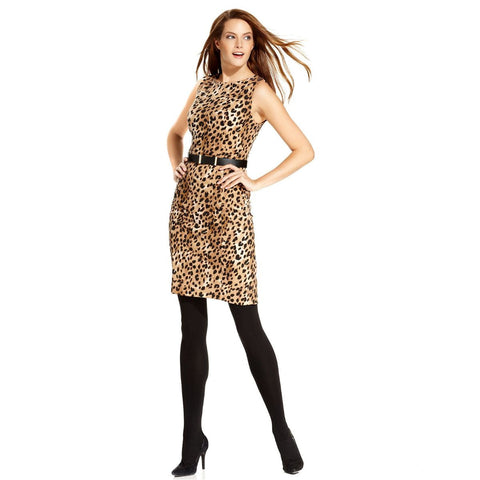 Calvin Klein Belted Animal Print Sheath Dress - Your Glam Style