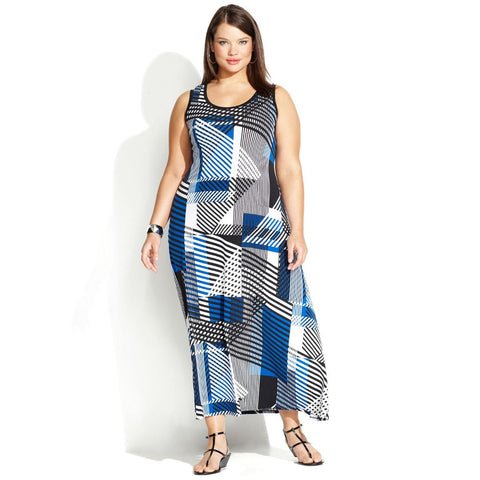 Calvin Klein Geo-Print Plus Size Maxi Dress - Your Glam Style - 1