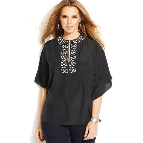 MICHAEL Michael Kors Jeweled Neckline Batwing Plus Size Top - Your Glam Style