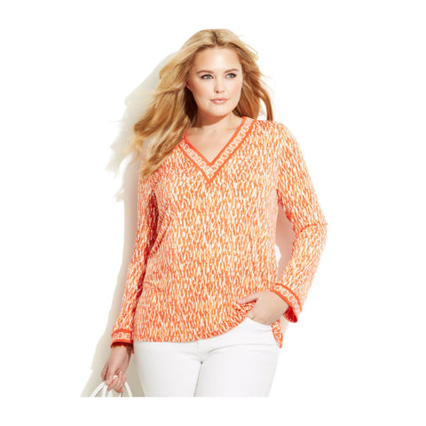 "MICHAEL Michael Kors ""Riviera"" Border Plus Size Tunic - Your Glam Style - 1"