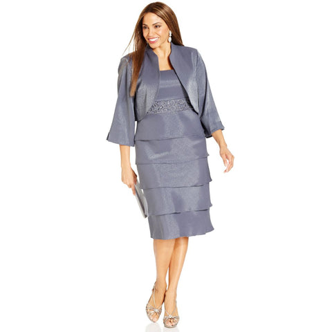 R&M Richards Embellished Tiered Plus Size Dress and Jacket - Your Glam Style - 1