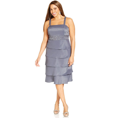 R&M Richards Embellished Tiered Plus Size Dress and Jacket