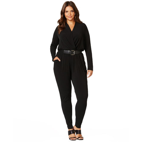 MICHAEL Michael Kors Belted Wrap Plus Size Jumpsuit - Your Glam Style - 1