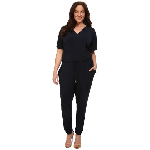 MICHAEL Michael Kors Drawstring Flutter Sleeve Plus Size Jumpsuit - Your Glam Style - 5