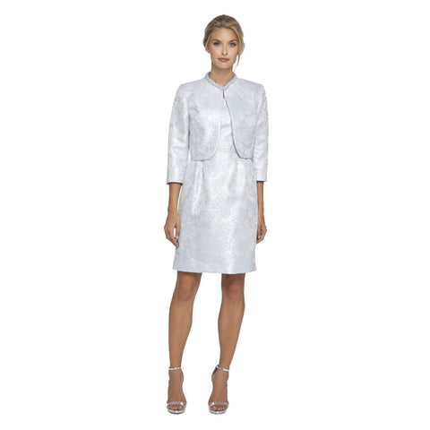 Tahari ASL Embellished Neckline Jacquard Jacket Dress