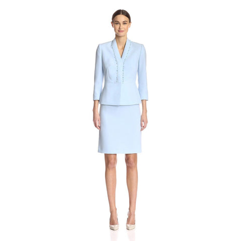 Tahari ASL Bead-Trim Three-Quarter Sleeve Crepe Skirt Suit - Your Glam Style