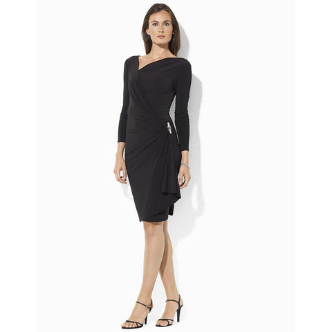 Lauren Ralph Lauren Brooch Draped Side Sheath Dress - Your Glam Style - 1