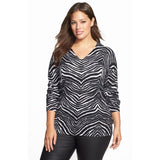 MICHAEL Michael Kors Zebra Print V-Neck Plus Size Sweater - Your Glam Style - 1