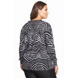 MICHAEL Michael Kors Zebra Print V-Neck Plus Size Sweater - Your Glam Style - 2