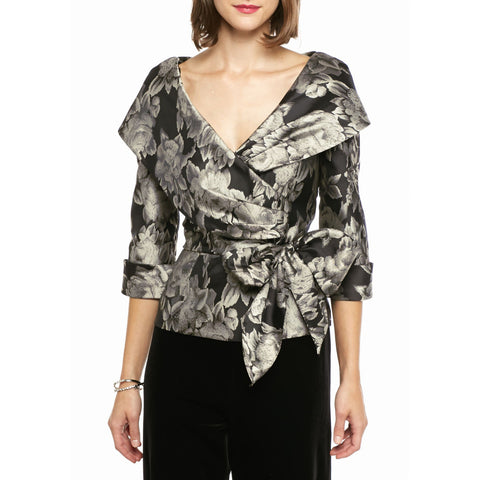 Alex Evenings Shawl Collar Side-Tie Jacquard Blouse