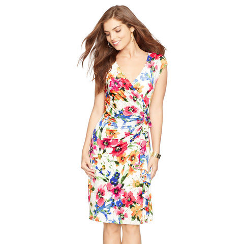 American Living Cap Sleeve Ruffled Floral Dress