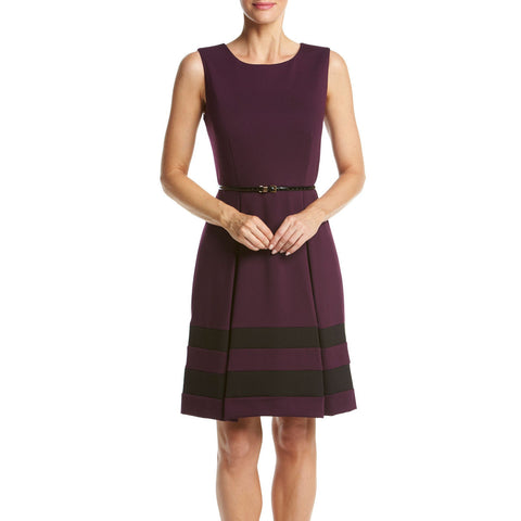 Calvin Klein Belted Ponte Knit Striped Hem Dress