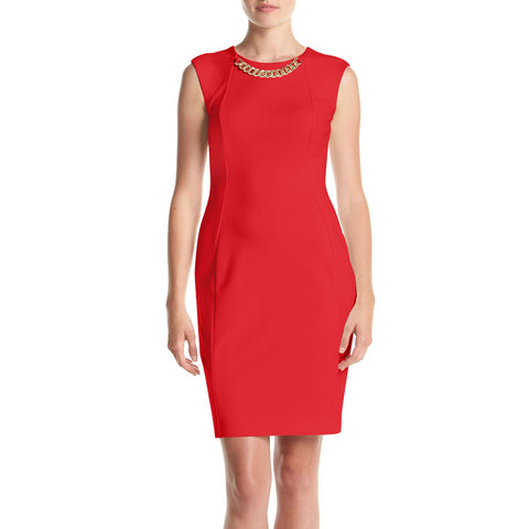 Calvin Klein Chain Neckline Ponte Sheath Dress