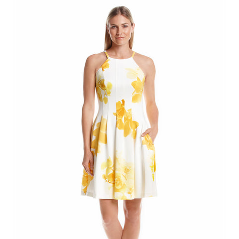 Calvin Klein Floral Print Scuba Fit and Flare Dress