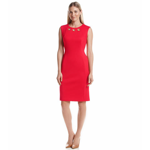 Calvin Klein Grommet Neckline Ponte Sheath Dress