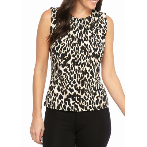 Calvin Klein Leopard Print Pleat-Neck Sleeveless Top