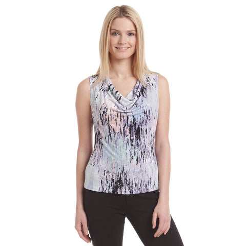 Calvin Klein Cowl-Neck Printed Sleeveless Top