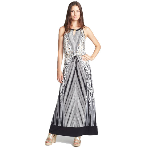 Calvin Klein Animal Print Hardware Embellished Maxi Dress