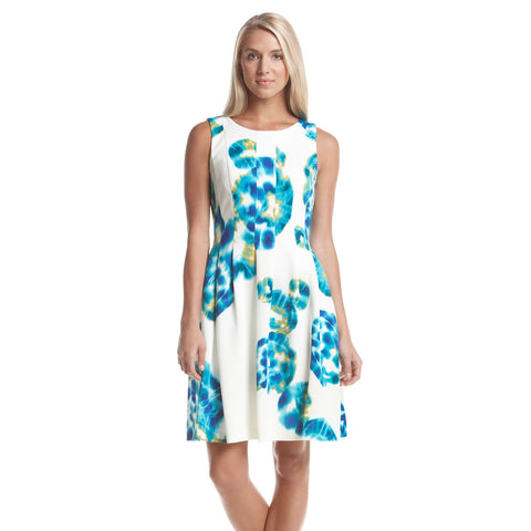 Calvin Klein Tie Dye Print Scuba Fit and Flare Dress
