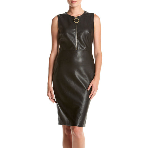 Calvin Klein Zip-Front Faux Leather Sheath Dress