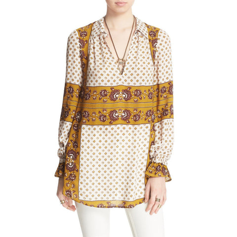 Free People Changing Times Mixed Print Tunic Top