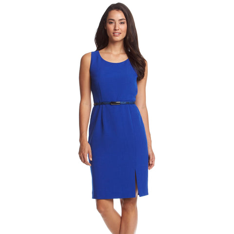 Kasper Belted Front-Slit Sleeveless Sheath Dress