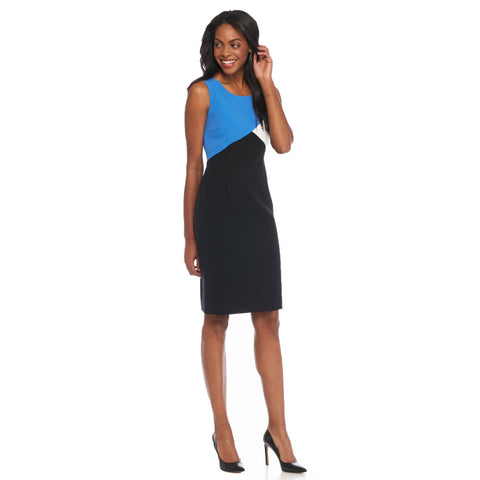 Kasper Colorblock Crepe Sheath Dress