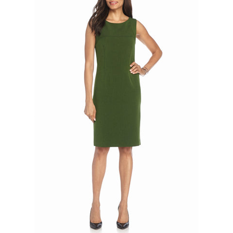 Kasper Solid Sleeveless Crepe Sheath Dress
