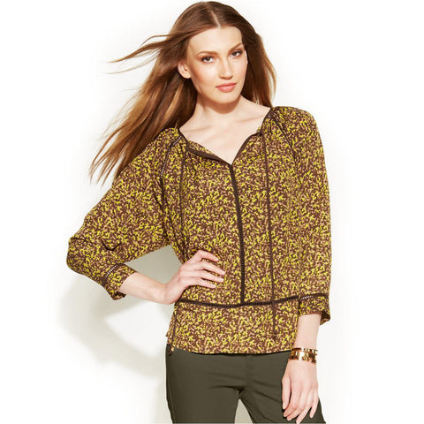 MICHAEL Michael Kors Camo-Print Peasant Top - Your Glam Style
