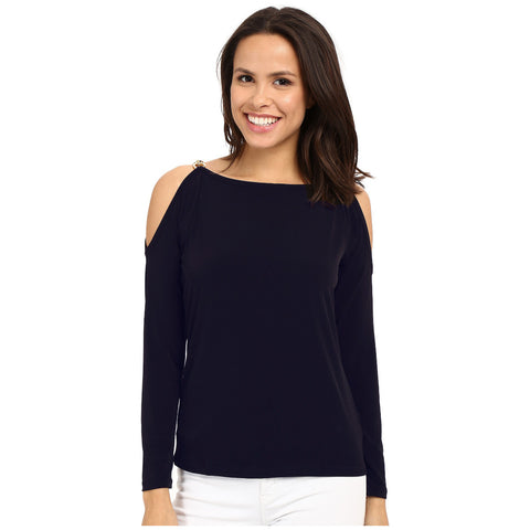 MICHAEL Michael Kors Chain-Trim Cold Shoulder Top