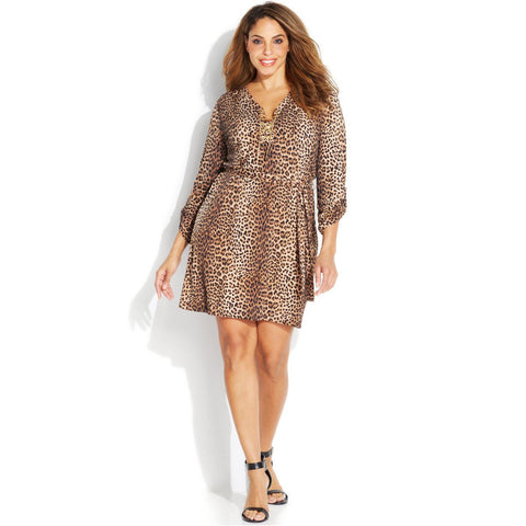 MICHAEL Michael Kors Leopard Print Belted Chain Lace-up Plus Size Dress - Your Glam Style - 1