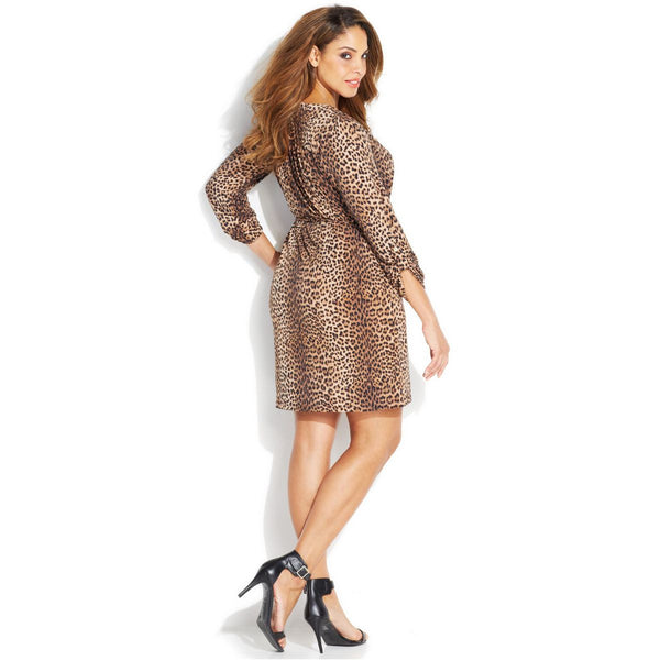 f7a22b6e2ec MICHAEL Michael Kors Leopard Print Belted Chain Lace-up Plus Size Dres –  Your Glam Style