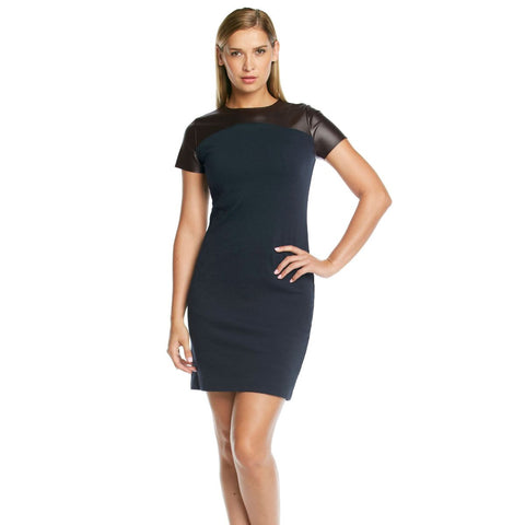MICHAEL Michael Kors Faux Leather Yoke Ponte Knit Sheath Dress - Your Glam Style - 1