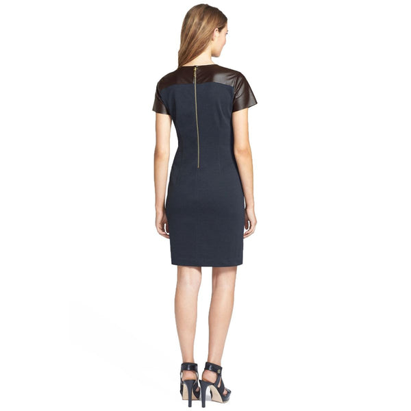 8bca429c MICHAEL Michael Kors Faux Leather Yoke Ponte Knit Sheath Dress – Your Glam  Style