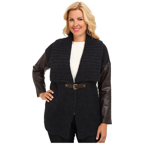 MICHAEL Michael Kors Plus Size Faux Leather Sleeve Buckle-Front Cardigan
