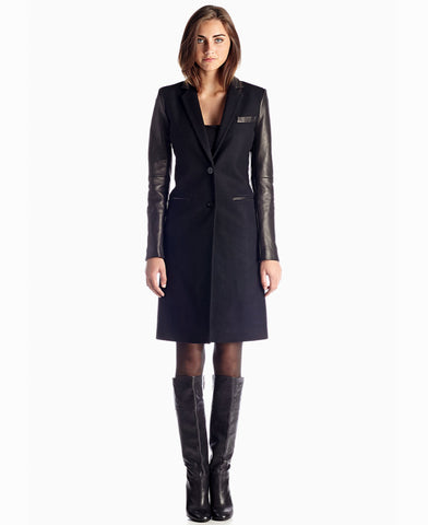 MICHAEL Michael Kors Tailored Sheep Leather Sleeve Wool-Blend Long Coat - Your Glam Style - 1