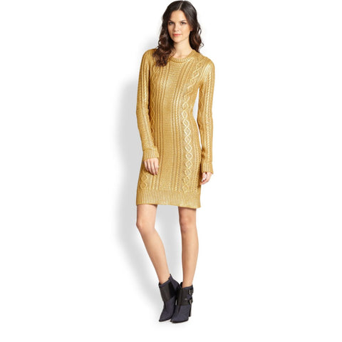 MICHAEL Michael Kors Metallic Cable Knit Long Sleeve Sweater Dress - Your Glam Style - 3