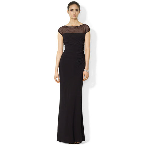 Lauren Ralph Lauren Mesh-Yoke Beaded Illusion Neck Dress - Your Glam Style - 1